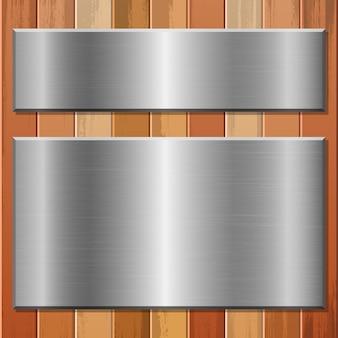 Metallische platte auf hölzernem hintergrundillustration