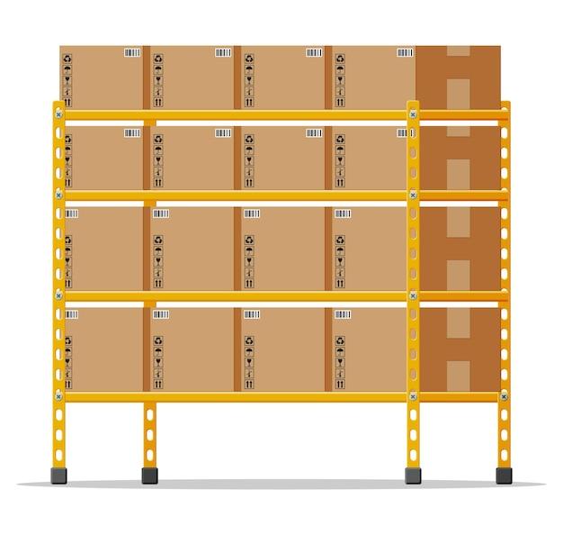 Metallische regale mit braunen kartons. waren- und containerpaket. stapel kartons eingestellt. lieferverpackung geschlossener karton mit zerbrechlichen schildern. vektorillustration im flachen stil