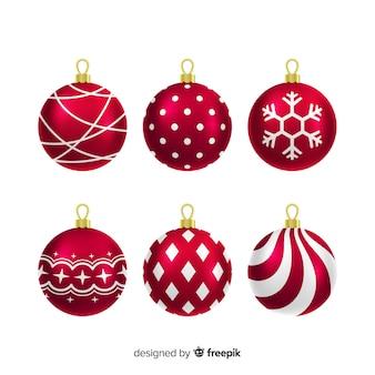 Metallische weihnachtskugelansammlung