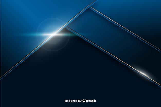 Metallischer blauer hintergrund mit abstrakter form