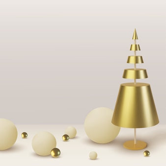 Metallischer goldener weihnachtsbaum. realistischer abstrakter hintergrund mit. grußkarte, einladung mit frohem neuen jahr und weihnachten.