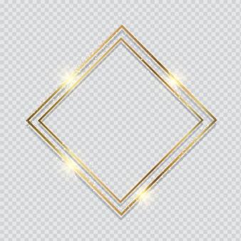 Metallischer goldrahmen auf transparentem hintergrund