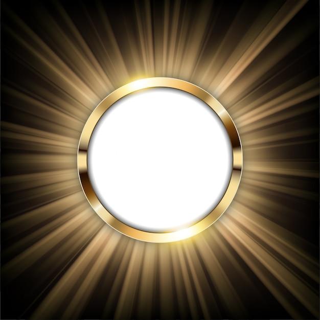 Metallischer goldring mit dem text raum und licht belichtet