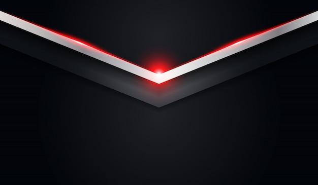 Metallischer hintergrund des abstrakten pfeilschwarzes mit roter glänzender linie