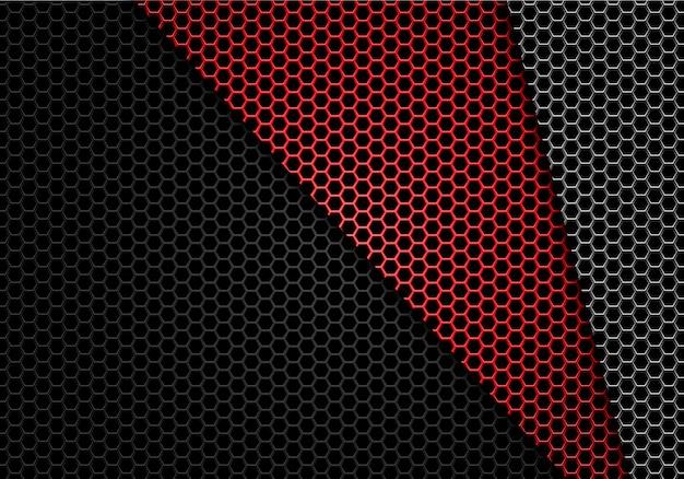Metallischer musterhintergrund der roten grauen schwarzen hexagonmasche.