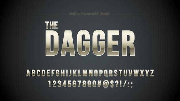 Metallischer mutiger typografie-entwurf