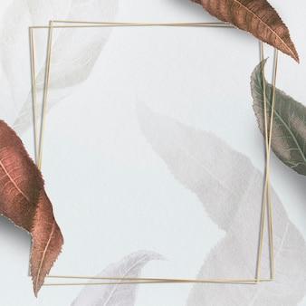 Metallischer rahmen mit braunen pfirsichzweigen gemusterte quadratische soziale vorlage