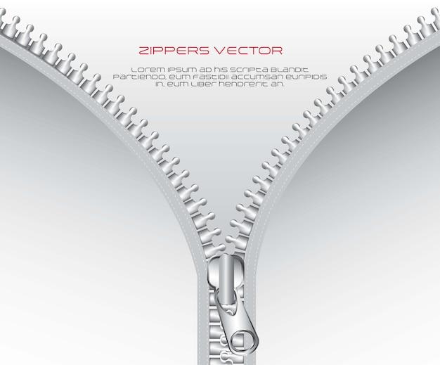 Metallischer reißverschluss mit raum für kopienvektorillustration