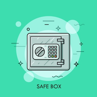 Metallischer safe mit geschlossener tür und knöpfen mit elektronischem schlosscode. geldspeicher, sicherheit, bankeinlagenkonzept.
