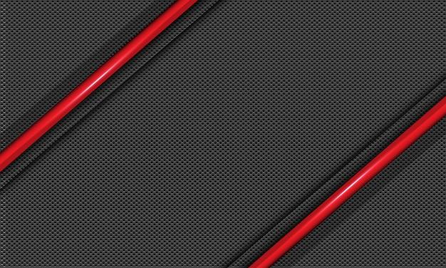 Metallischer schrägstrich der abstrakten roten linie auf grauem kreismaschenmusterhintergrund.