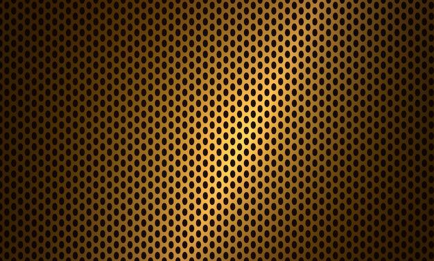 Metallischer stahlhintergrund der goldkohlefaserstruktur.
