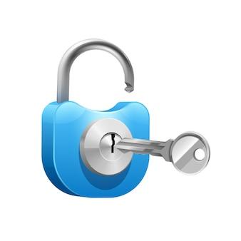 Metallisches blaues vorhängeschloss mit schlüssel zum öffnen oder schließen
