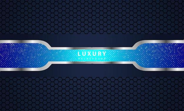 Metallisches schwarzes blaues rahmenlayout moderne tech-design-vorlage.