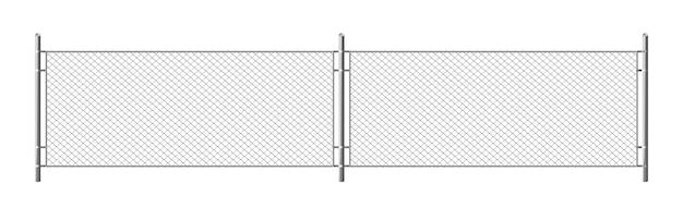 Metallkettengliedzaun, segment des rabitzgitters lokalisiert auf weißem hintergrund. realistische darstellung von stahldrahtgeflecht, sicherheitsbarriere für gefängnis, militärische kettengliedgrenze