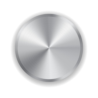 Metallknopf für die haushaltselektronik lokalisiert auf weiß