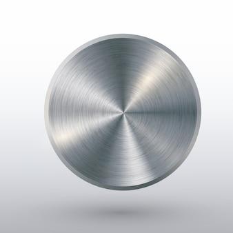Metallknopf mit beschaffenheit, realistischem schatten und hellem hintergrund für netzbenutzerschnittstellen.