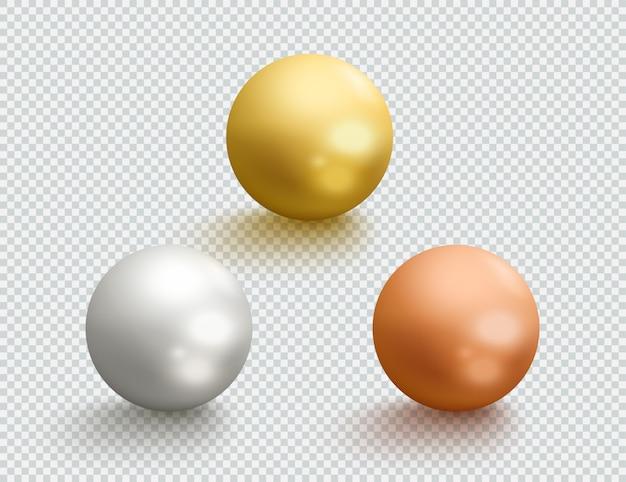 Metallkugeln gold silber bronze 3d kugeln set