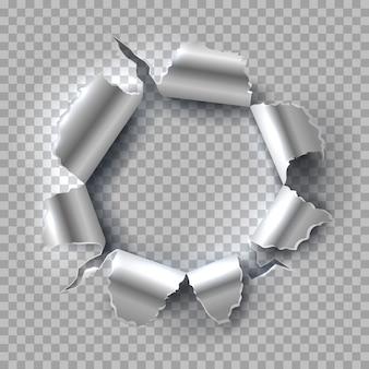 Metallloch. explodierender stahl mit zerrissenen, zerrissenen kanten, die auf transparentem hintergrund isoliert werden