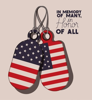 Metallplatten mit usa-flagge des erinnerungstages