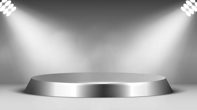 Metallpodest und scheinwerfer. runder glänzender sockel. szene. illustration.