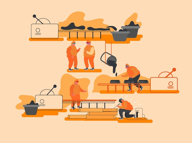 Metallproduktion, schwerindustrie, metallurgiekonzept.
