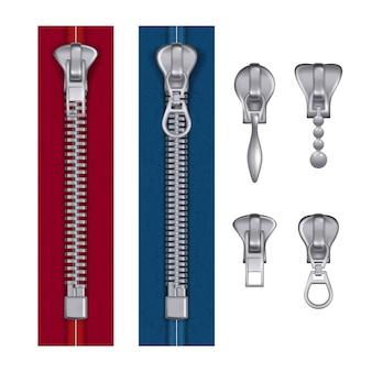 Metallreißverschluss. modeartikel schnallen schloss handtasche komponenten reißverschluss zubehör vektor realistische sammlung. reißverschluss und schloss, stahlreißverschluss, abbildung der zugänglichkeit