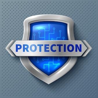 Metallschild mit glänzendem schutz. realistisches sicherheits- und schutzsymbol. schildsicherheitsemblem, schutzantivirus-ausweisillustration