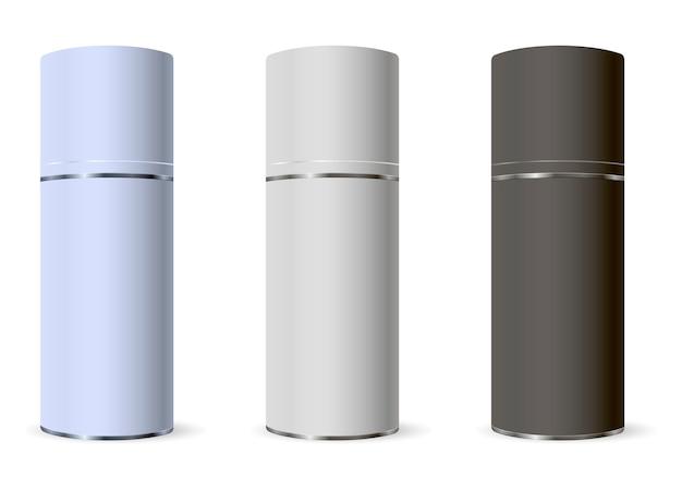 Metallsprayflaschen für kosmetikprodukte. attrappe, lehrmodell, simulation