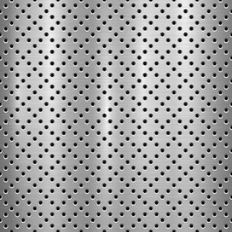 Metallstrukturierter technologie-hintergrund mit perforiertem muster