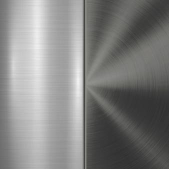 Metalltechnologie-hintergrund mit rundem und geradem gebürstetem chrom-silber-stahl