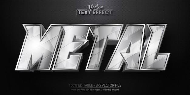 Metalltext, bearbeitbarer texteffekt im glänzenden metallic-silber-stil