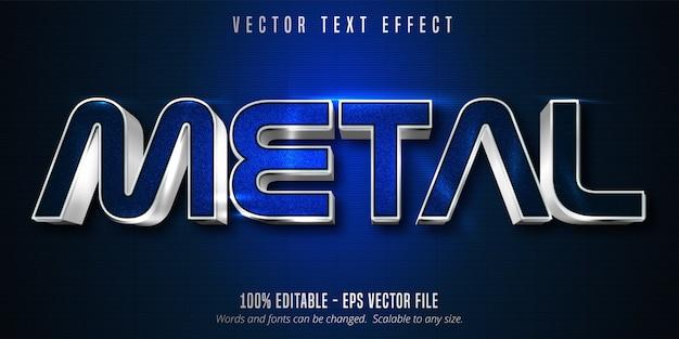 Metalltext, bearbeitbarer texteffekt im silberstil auf blauer leinwand