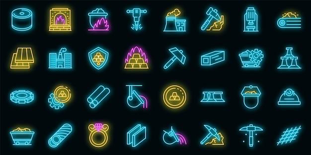 Metallurgie-symbole gesetzt. umrisse von metallurgie-vektorsymbolen neonfarbe auf schwarz