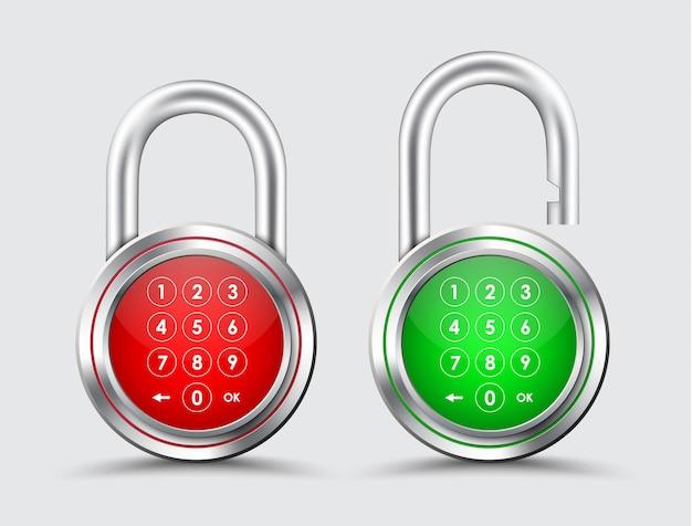 Metallvorhängeschlösser mit digitalem passwort auf rotem und grünem zifferblatt