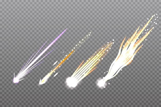 Meteor-, kometen- oder raketenpfade