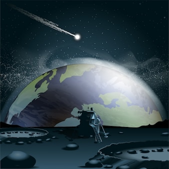 Meteorite auf einem planeten