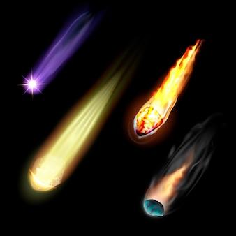 Meteoriten icons set. realistischer satz meteoritenvektorikonen lokalisiert