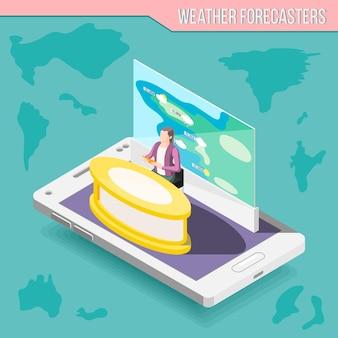 Meteorologen-moderator mit wetterkarte auf bildschirm isometrische zusammensetzung des mobilen geräts auf türkisfarbenem hintergrundvektorillustration