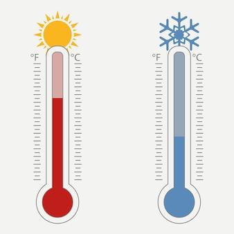 Meteorologisches thermometer temperaturskala für celsius und fahrenheit