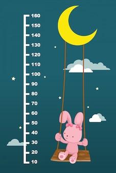 Meter wand mit kaninchen auf schaukel hängen. illustration.