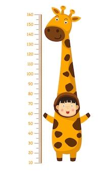 Meterwand mit giraffenkostüm