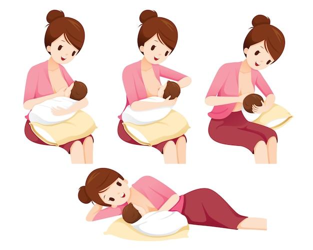 Methoden und position für das stillen der mutter babysicherheit