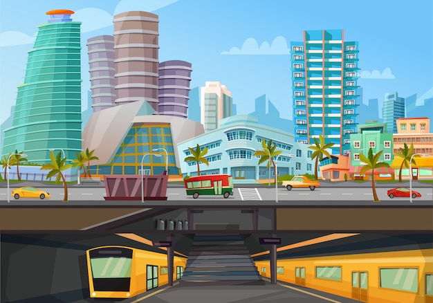 Metro-schienenposter der innenstadt von miami