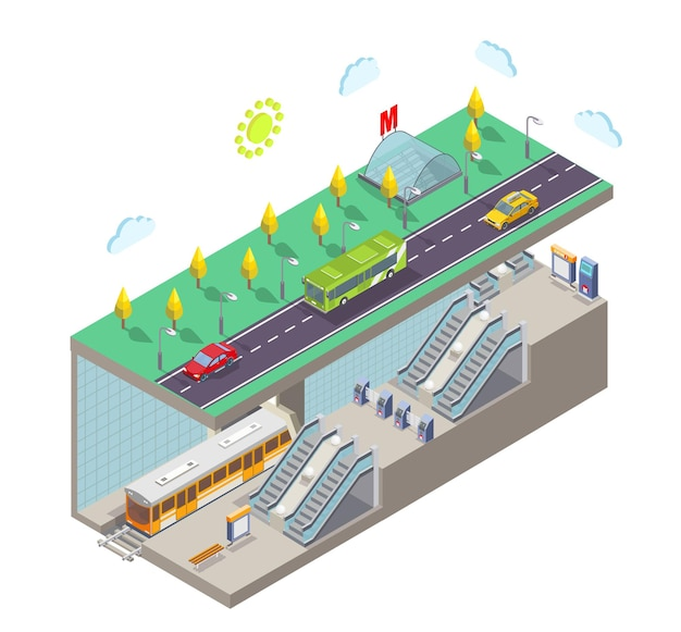 Metro station flachbild vektorillustration isometrische stadt straße querschnitt u-bahn eingang zug rai...