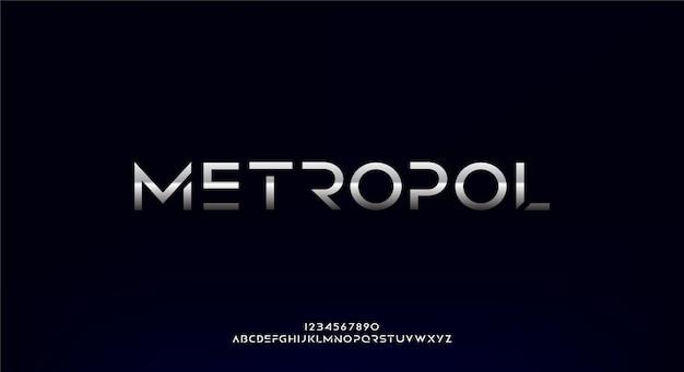 Metropol, eine abstrakte futuristische alphabetschrift mit technologiethema. modernes minimalistisches typografie-design premium