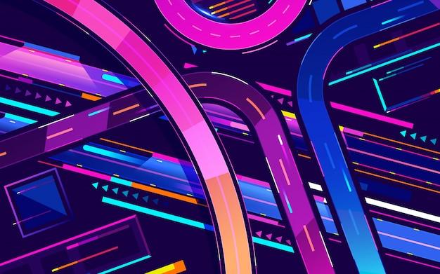 Metropolennachtautobahn-neonfarben, draufsichtkarikaturvektor