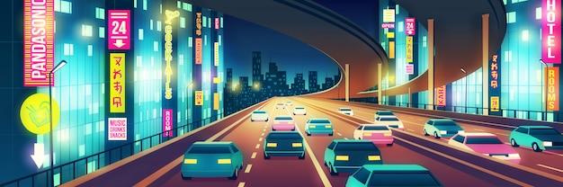 Metropolennachtlebenkarikatur mit den autos, die auf die landstraße oder autobahn mit vier linien gehen, belichtete mit hellen neonschildern an der nachtillustration. stadt im freien