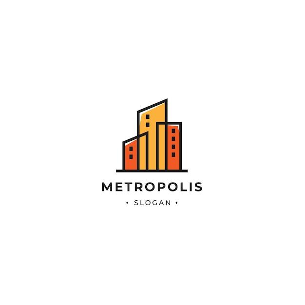 Metropolis gebäudeturm logo mit minimalistischem umriss.