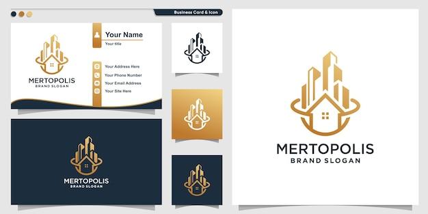 Metropolis logo vorlage mit kreativem einzigartigem konzept premium-vektor