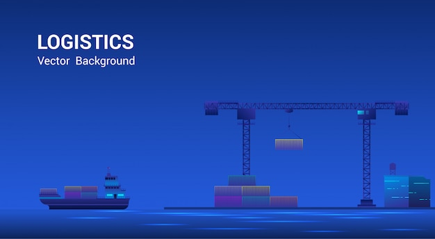 Metropolis seehafen seetransport logistik. wolkenkratzer an land, frachtschiff mit schiffscontainern, globales geschäft, internationales handelskonzept